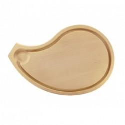 Planche en bois forme Côte de boeuf avec rigole 31x20cm Tellier