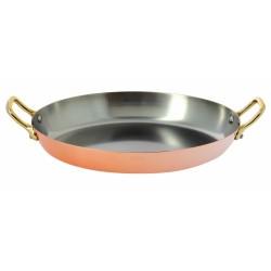 Plat ovale cuivre inox 2 anses laiton 36cm De Buyer