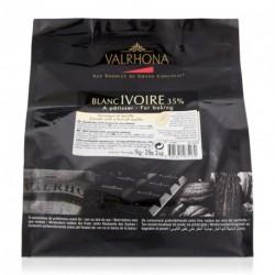 Fèves chocolat blanc Ivoire 35% 1kg - Valrhona