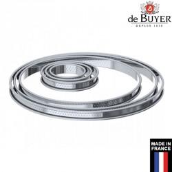 Cercle à tarte perforé bord roulé De Buyer France